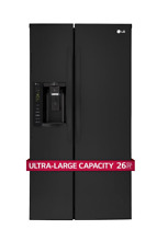 LG 36  Side by Side Refrigerator  26 2 cu  ft BLACK   NEW IN BOX   LSXS26326B