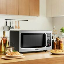 Toshiba Smart Sensor LED Light 1 5 Ft Stainless Convection Microwave Oven  Black