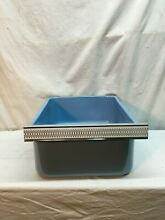 Enamel Refrigerator Drawer Teal Metal Crisper Bin Tray 1950s Blue Dog Dish