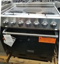 NEVER USED VIKING 30  ELECTRIC RANGE WITH STAINLESS STEEL KNOBS IN BLACK IN BOX