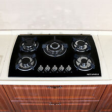METAWELL Black 30  Tempered Glass Built in 5 Burner Cooktops LPG NG Gas US SHIP