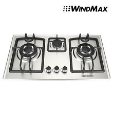 Windmax 28  Stainless Steel 3 Burner Built In Stove Cooktop NG Gas Hob Cooker US