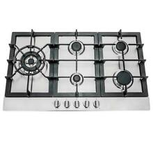 30 INCH GAS COOKTOP   5 BURNER  METAL KNOBS  STAINLESS STEEL  OPEN BOX