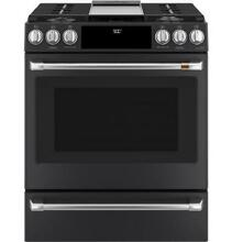 GE Cafe C2S900P3MD1 30  Matte Black Smart Dual Fuel Range W  Warming Drawer