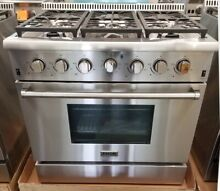 THOR KITCHEN 36  RANGE STAINLESS STEEL 6 BURNERS LARGE OVEN STAINLESS KNOBS