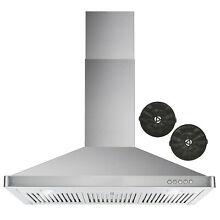 36 in  Ductless Wall Mount Range Hood w  Push Buttons  Filter Kit  OPEN KIT