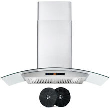 36 IN  DUCTLESS WALL MOUNT RANGE HOOD w  Touch Controls   Filter Kit  OPEN BOX