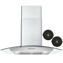 30 IN  DUCTLESS WALL MOUNT RANGE HOOD with Push Buttons   Filter Kit  OPEN BOX
