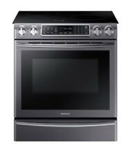NEW Samsung Slide In Induction Range with Virtual Flame in Black Stainless Steel