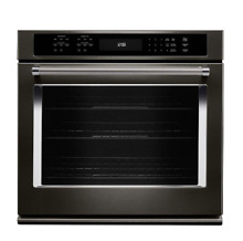 KITCHENAID 30  Single Wall Oven Black Stainless Self Cleaning KOSE500EBS