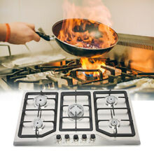 33 8  Stainless Steel Built in 5 Zone Stove Natural Gas Propane 5 Burner Cooktop