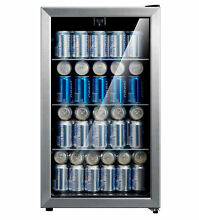 115 Cans Mini Refrigerator Beverage Cooler in Glass Door Stainless Steel Frame