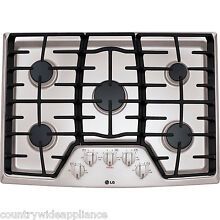 LG Stainless Steel 30  Gas Cooktop with 17K BTU Center Burner Sealed LCG3011ST