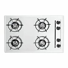 Summit 30  Gas Cooktop with Four Burners   Gas Spark Ignition   White