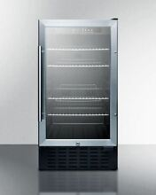 Summit 18  Wide Built in Beverage Cooler with Glass Door  Stainless