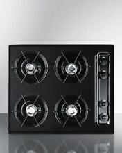 Summit 24  Cooktop with Four Burners   Battery Ignition   Black