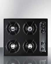 Summit 24  Cooktop with Four Burners   Gas Spark Ignition   Black