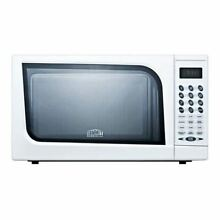 Mid sized microwave oven with a fully white finish