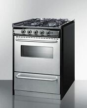 24  Wide Slide In Gas Range with Stainless Doors   Sealed Burners