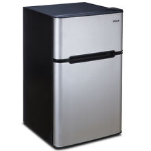 Premium 3 2 cu ft Mini Food Refrigerator Stainless Steel 2 Door Compact Freeze
