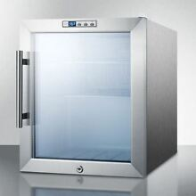 Glass Door Refrigerator With Digital Thermostat   Stainless Steel