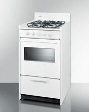 20  wide gas range in white oven window and electronic ignition
