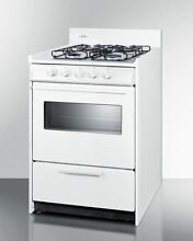 24  wide gas range in white oven window and electronic ignition