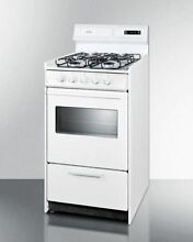 20  wide gas range in white with sealed burners  digital clock timer