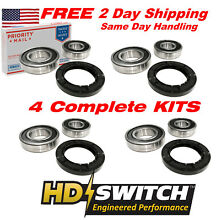 4 Kits   W10290562 Whirlpool  Maytag  Amana Front Load Washer Bearing Seal Kit