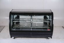 New Black 75  Curved Glass Deli Bakery Case Casters Free Shipping