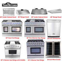 Thor Kitchen Cooking 36 48in Gas Range   Range Hood   24  Wine Cooler Dishwasher