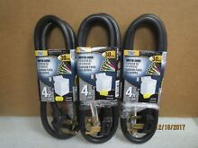 Power Zone 4ft 30 4 prong Amp Dryer Cord Black   4560926   NEW LOT of 3 Cords