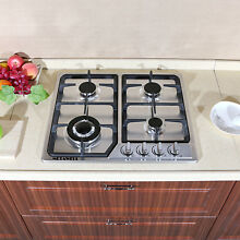 WindMax 23inch 4 Burner Gas Cooktop Stainless Steel   Cast Iron Pan Stands