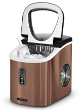Small Ice Maker Mini With Lid Portable Electronic Kitchen Counter Travel Bronze