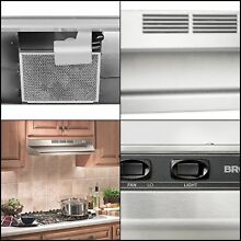 Broan 30  Under Cabinet Ductless Non Ducted Range Hood Vent Fan Stove Stainless