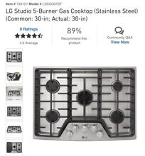 LG Studio 5 Burner Gas Cooktop Stainless Steel 30inch LSCG307ST