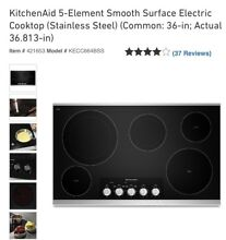 KitchenAid KECC664BSS 36  Stainless Electric Cooktop w 5 Elements Manufac Waraty