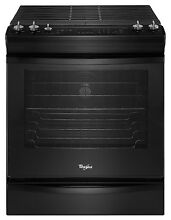 Whirlpool WEG730H0DB 5 8 cu  ft  Slide In Gas Stove w  Convection   Black NIB