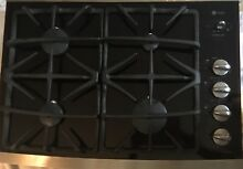 GE Profile 30  Gas Cooktop Black Glass with Stainless Steel Trim JGP940SEKSS