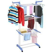 Home 3 layer Portable Practical Clothes Dryer Exquisite Design Durable Blue