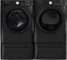 Set 2 Frigidaire 15  Black Front Load Washer Dryer Laundry Pair Pedestals Drawer