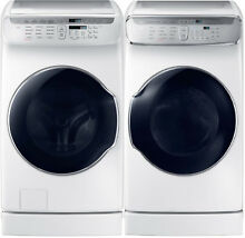 Samsung White Flex Washer   Gas Dryer   Risers WV60M9900AW DVG60M9900W WE272NW