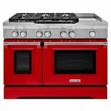 KitchenAid KDRS483VSD 48 in  6 3 cu  ft  Dual Fuel Range in Signature Red