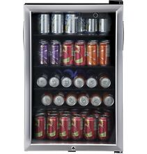 Haier Beverage Cooler Refrigerator 150 Can Beer Soda Wine Stainless Steel Fridge