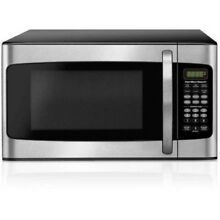 1 1 CU FT Microwave Oven 1000W LED Display Stainless 10 Powr Level Kitchen Dorm