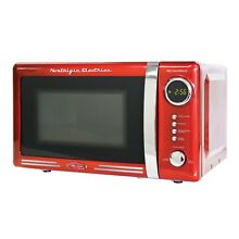 Microwave Oven Red Finish 0 7 cubic Foot Kitchen countertop Grill Cooking