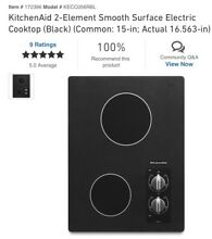 KitchenAid KECC056RBL Black 16 56 in  Electric Hobs  Gas and Electric