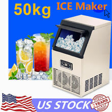 Auto Commercial Ice Maker Machine Stainless Steel 110 lbs  Ice Cube Maker 110V