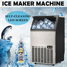 Auto Commercial Ice Cube Maker Machine Stainless Steel Restaurant Bar US