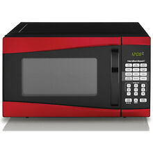 Red Hamilton Beach 900 Watt Microwave Oven  Small Space Dorm Kitchen Countertop